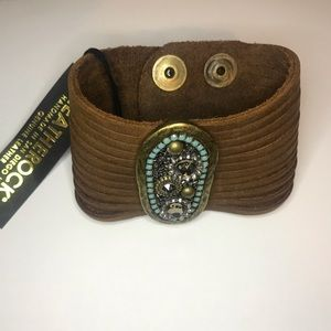 Leatherock Marley Brown Leather Turquoise Bracelet